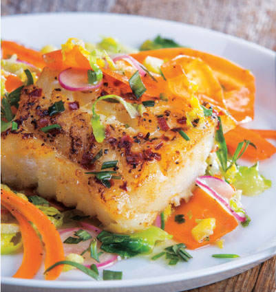 Pan-Seared Cod & Sautéed Vegetables with Lemon-Butter