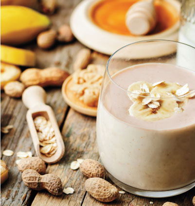 Peanut Butter, Oat & Banana Smoothies