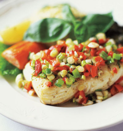 Baked Cod with Red Pepper-Scallion Relish