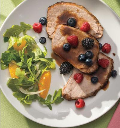 Balsamic-Honey Roast Pork Loin with Fresh Berries