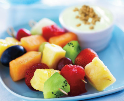 Fresh Fruit Kabobs with Key Lime-Coconut Dip
