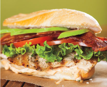 Grilled Chicken BLT with Basil-Mayo