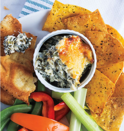 Hot Spinach & Kale Dip with Homemade Tortilla Chips