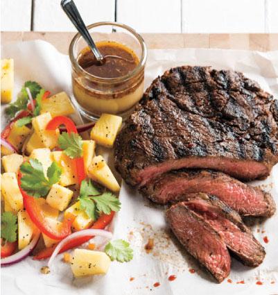 Jerk Sirloin Steak with Pineapple-Pepper Salad