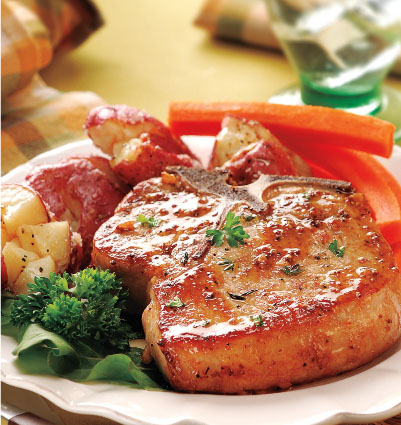"""Pork Chops with Grainy Mustard Sauce & """"Smashed"""" Potatoes"""