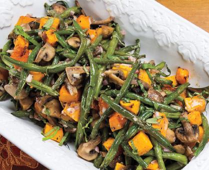 Roasted Butternut Squash, Green Beans & Mushrooms with Basil-Shallot Vinaigrette