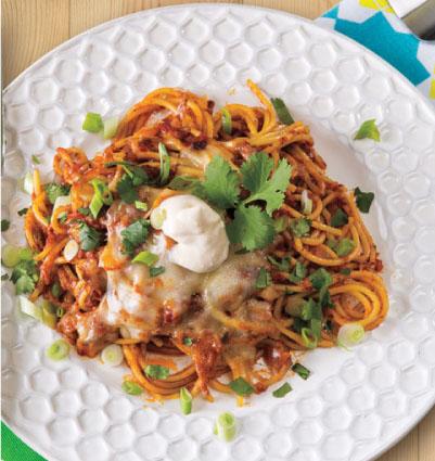 Taco Baked Spaghetti